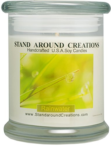 Premium 100% Soy Candle - 12 oz. Status - Rain Water: A very fresh clean scent. Begins w/