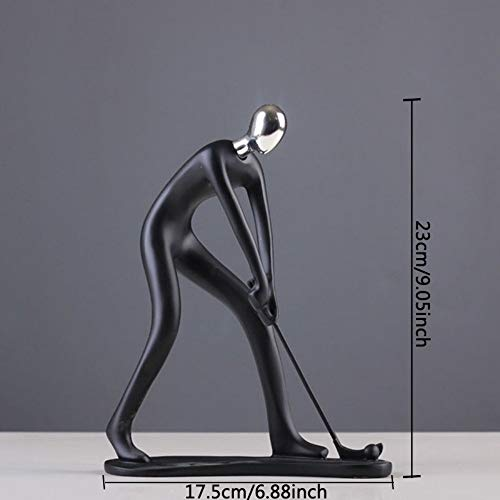 Figurines Statue Stauette Sculpture,Black Villain Playing Golf Modern Abstract Human Sculpture Statue Resin Jewelry Home Decoration Geometry Resin for Couple Sculpture