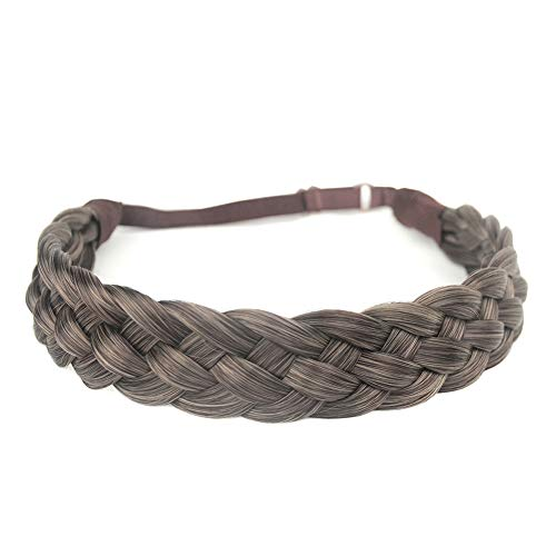 DIGUAN 5 Strands Synthetic Hair Braided Headband Classic Chunky Wide Plaited Braids Elastic Stretch Hairpiece Women Girl Beauty accessory, 56g (#Gray Brown) -