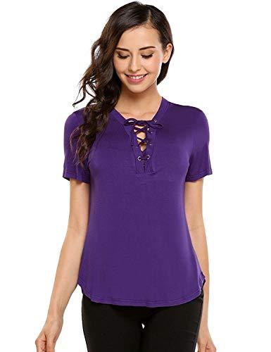 Camisetas Mujer Verano Basicas Camisas Elegantes Coat Moda Vintage Festivo Ropa Tops Color Sólido Manga Corta V-Cuello con Cordones Slim Fit Moda Joven Shirts Blusas Violett