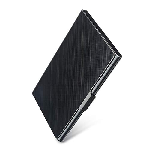 Professional Business Card Holder Business Card Case Slim Design Stainless Steel Card Holders for Men & Women, Keep Business Cards in Immaculate Condition (Metallic-Grid) (Metallic Business Cards)