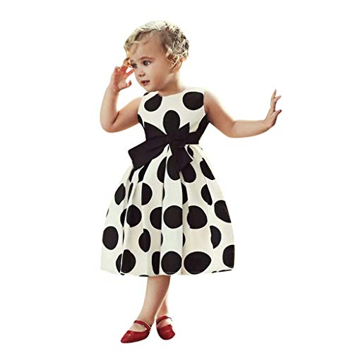 Youmymine Toddler Kids Baby Girl Dresses Sleeveless Vintage Polka Dot Princess Rockabilly Party Swing Dress (3-4Year, White) ()