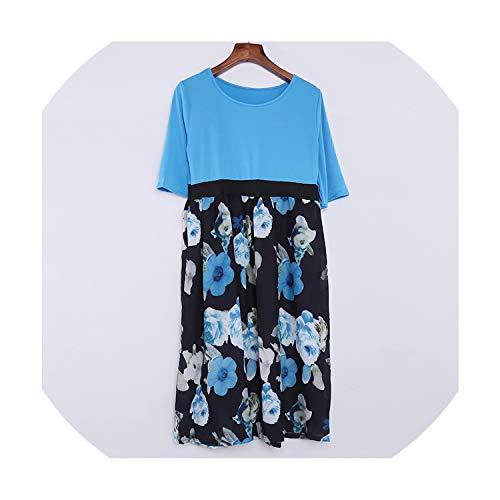 Women Vintage Flower Pint Dress Half Sleeve O-Neck Washed Plus Size Loose Casual Beach Dress Spring Autumn Woman Robe Dress,XXL ()