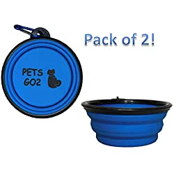 PETS GO2 Collapsible Dog Bowl, Foldable Expandable Cup Dish for Pet Cat Food Water Feeding | Portable Travel Bowl | Free Carabiner