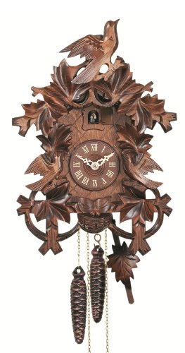 Engstler Quartz Cuckoo Clock 8 leaves, 3 birds, nest