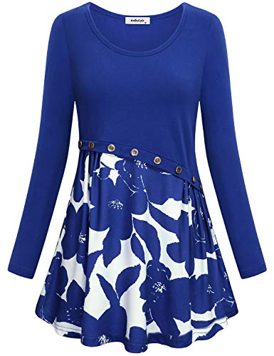 (Floral Print Tunic Dress,Vintage Long Sleeve Shirts for Women Maternity Tops Round Neck Perfect Flared Bottom Retro Button Front Breathable Clothes Holiday Wear Sweaters Cute Sweatshirt Blue XL)