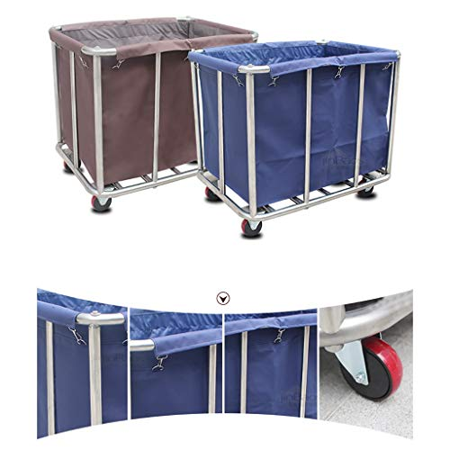 Hotel Cart, Stainless Steel Thick Linen car Hotel Hotel Room Cleaning Hand Push Work car (Color : B) by HT trolley (Image #1)