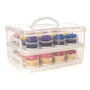 Best Epic Trends 41FkvaeNA9L._SS300_ 24 Large Cupcake Carrier, Two Tiered Holder, Cake Carrier, Stack and Store Cake Carrier