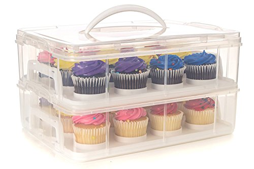 24 Large Cupcake Carrier, Two Tiered Holder, Cake Carrier, Stack and Store Cake Carrier]()