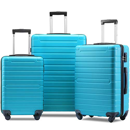 - Flieks Luggage Set 3 Piece Light Weight Hardside Spinner Suitcase