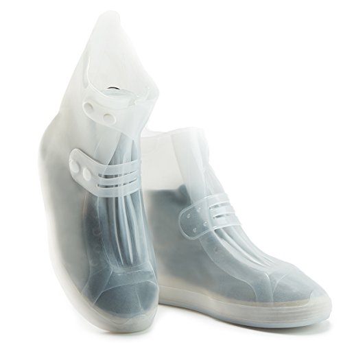 USHTH Waterproof Rain Boot Shoe Cover The Reusable Slip-Resistant Overshoes with Excellent Elasticity and Foldable (White-L) by USHTH (Image #7)