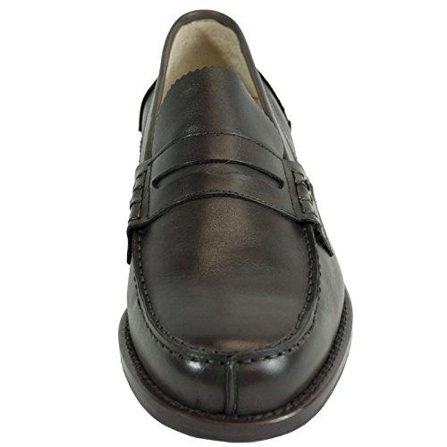Saxone Of Scotland - Mocasines de Piel para hombre marrón marrón oscuro