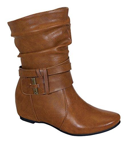 Amar-74 Women's Calf Flat Heel Side Zipper Slouch Ankle Boots with Glam Twist Cognac 9 (Fancy Dress Boots)