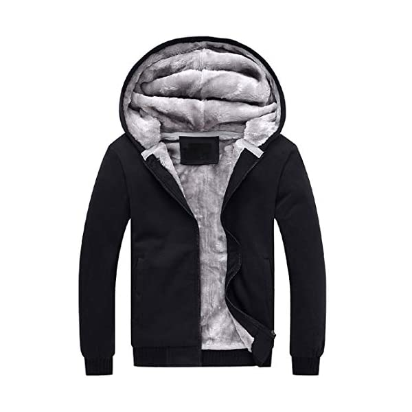 PUWEI Women's Loose Zip Up Thick Sherpa Fleece Lined Hooded Sweatshirt Jacket