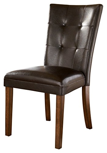 Ashley Furniture Signature Design   Lacey Upholstered Barstool   Curved Back   Set Of 2   Medium Brown Finish