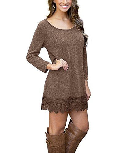 MRstriver Women's Long Sleeve A-line Lace Stitching Trim Casual Dress -