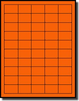 (1,000 Label Outfitters Neon Fluorescent Orange Laser Labels, 1-1/2 x 1 inches, 20 Sheets)