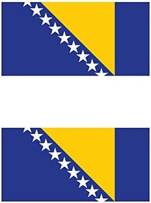 Two Pack Bosnian and Herzegovinian Flag Sticker FA Graphix Decal Self Adhesive Vinyl Bosnia BIH