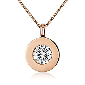 Yuaner Fashion Round Pendant Necklace with Crystal Zircon for Girls Women Wedding Gift