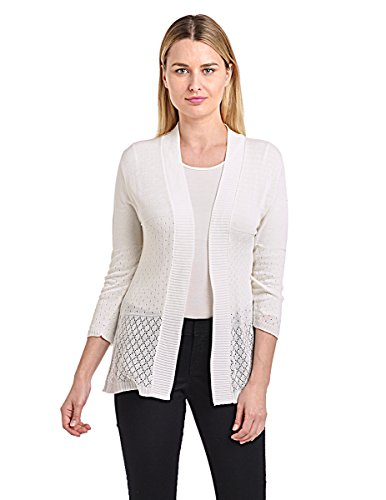 Knit Minded Junior's Pointelle ¾ Sleeve Flyaway Diamond Cardigan, Ivory, ()