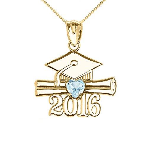 Collier Femme Pendentif 10 Ct Or Jaune Cœur Mars Pierre De Naissance Agua Oxyde De Zirconium Classe De 2016 Graduation (Livré avec une 45cm Chaîne)