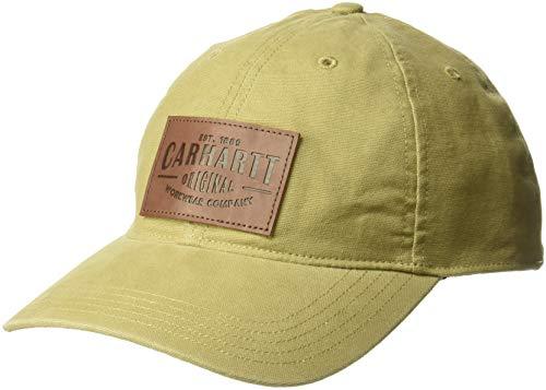 Embossed Spandex Hat - Carhartt Men's Rigby Stretch Fit Leatherette Patch Cap, Dark Khaki, M/L