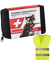 GoLab ® Motorfiets EHBO-set - klein en compact, verbandtas volgens DIN 13167 met veiligheidsvest geschikt voor alle Europese landen (Oostenrijk, Zwitserland, Italië, Duitsland, enz.)