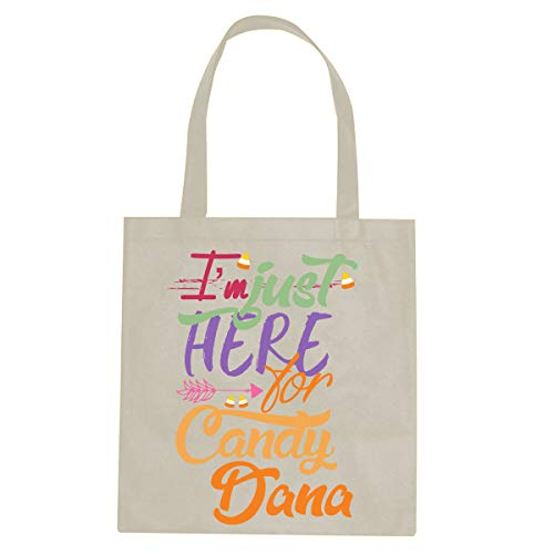 (BleuReign Custom Personalized Name - Just Here for Candy - Reusable Candy Halloween Trick Or Treat Ivory Tote)