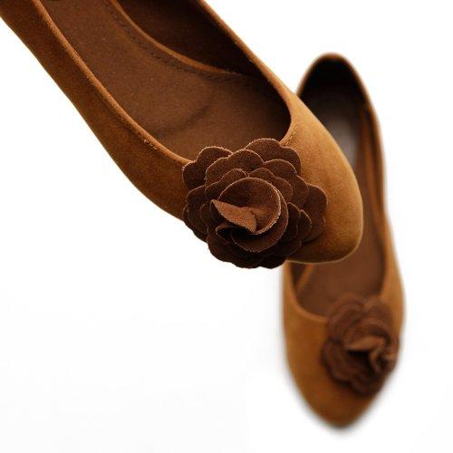 Scarpa Da Balletto Ollio Donna Carina Accento Floreale Multi Colore Marrone