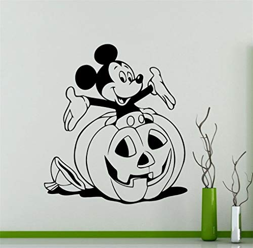 Oisiu Mickey Mouse Wall Sticker Decal Halloween Mickey Mouse Wall Decal Cartoon Aniaml Pumpkin Pattern Vinyl Wall Sticker Home Decor]()