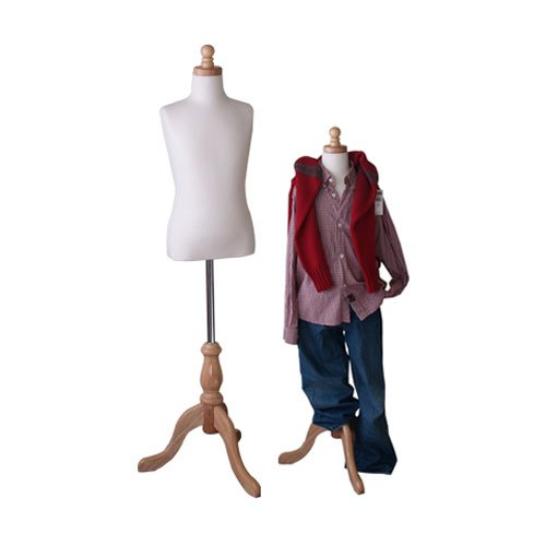 Form Jersey Polyurethane - Kids 7-8 Years Child Jersey Mannequin Dress Form - Boy or Girl - White with Natural Tripod Base