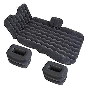 Image of Home and Kitchen Car Inflatable Mattress Air Bed Portable Camping Flocking Fabric Couch with 2 Air Pillows for Twin Size Sleep, Rest, Travel and Camping for Universal SUV, Car and MPV,Black