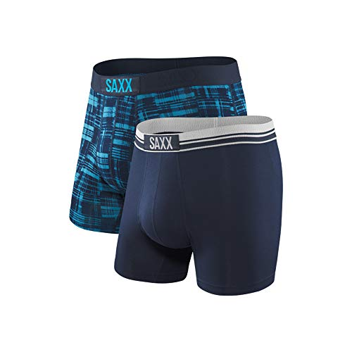(Saxx Underwear Men's Boxer Briefs - Vibe Men's Underwear - Boxer Briefs with Built-in Ballpark Pouch Support - Boxer Briefs, Pack of 2,Plaid,Medium)