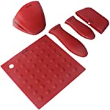 Silicone Hot Handle Holders, Potholders (5-Pack Mix Red) for Cast Iron Skillets, Pans, Frying Pans & Griddles, Metal and Aluminum Cookware Handles - Sleeve Grip, Handle Cover