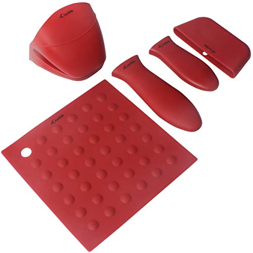 Silicone Hot Handle Holders, Potholders (5-Pack Mix Red) for Cast Iron Skillets, Pans, Frying Pans & Griddles, Metal and Aluminum Cookware Handles - Sleeve Grip, Handle Cover ()