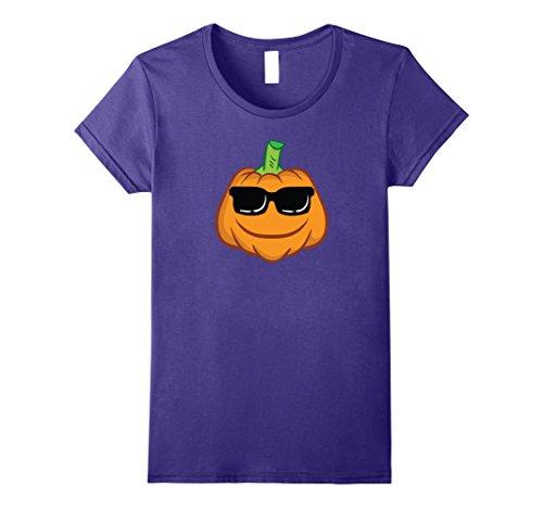 Smiley Costume Halloween (Womens Pumpkin Face Shirt - Smiley Pumpkin Shirt Halloween Costume Large Purple)