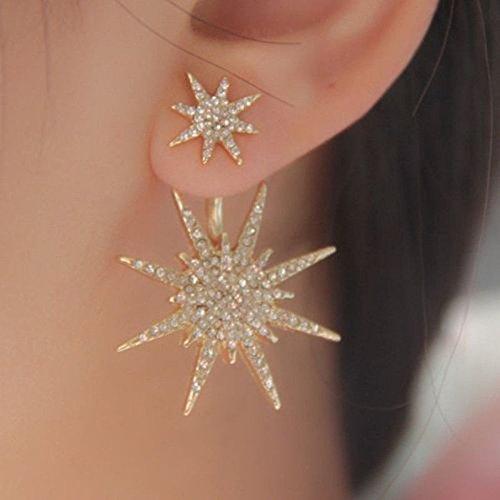 Crystal Rhinestone Lady Women 1 Pc Dangle Gold Earrings Star Ear Stud Earring