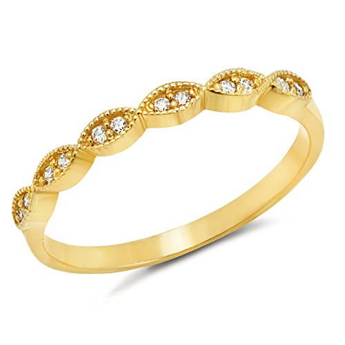 14k Yellow Gold Marquise Stackable Wedding Band Ring with Cubic Zirconia and Milgrain Texture (Size 6) ()
