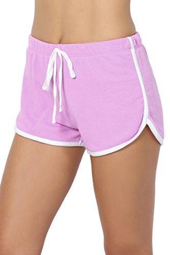 Cropped Terry Shorts - TheMogan Junior's Contrast Trim Elastic Waist Terry Sweat Lounge Short Lavender S