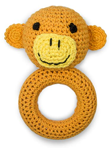 Cute New York Pure Cotton Knit Animal Rattle for Baby Boy or Girl/ (Monkey) -