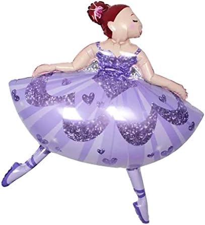 バルーン 風船 バレエダンス 女の子 フォイル ベビーシャワー/クリスマス/パーティー 飾り 玩具 おもちゃ プレゼント かわいい 2色選べ - 紫