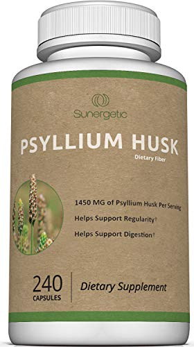 Premium Psyllium Husk Capsules – 725mg of Psyllium Husk per Capsule – Powerful Psyllium Husk Fiber Supplement Helps Support Digestion, Intestinal Health & Regularity – 240 Psyllium Husk Fiber Capsules