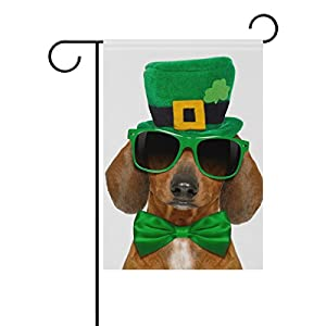 Cooper girl Dog In St Patricks Day Hat And Sunglasses Garden Flag Yard Banner Polyester for Home Flower Pot Outdoor Decor 12X18 Inch