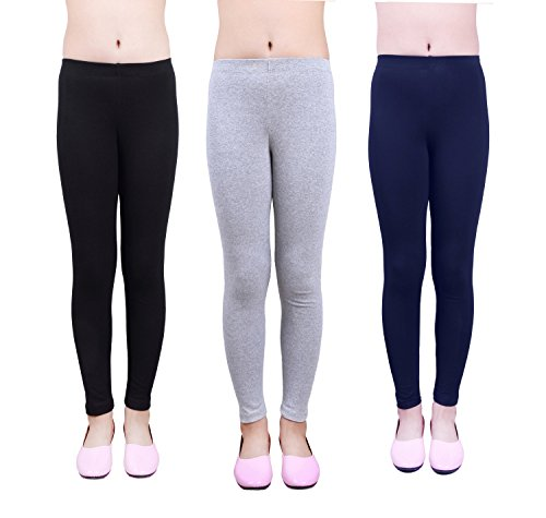 IRELIA Girls Leggings 3 Pack Cotton Solid Size 4-16 Spring/Fall 03 L -