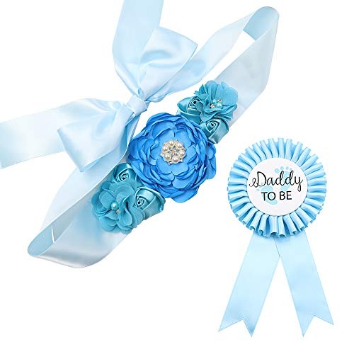 Sky Blue Maternity Sash & Daddy to be Corsage Set - Baby Shower Sash Baby Boy Pregnancy Sash Keepsake Baby Shower Flower Belly Belt]()