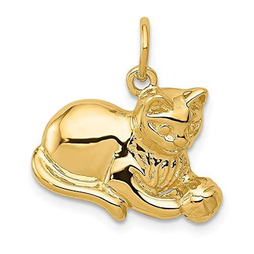 FB Jewels Solid 14K Yellow Gold Cat Charm