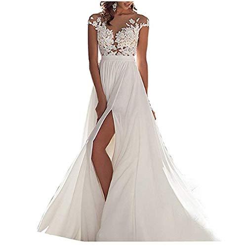 for Wedding Dress Back Weddings Ivory Bride Chiffon Gowns Chady Wedding Tail 2018 Beach Lace Dresses Long q6OtnzYw