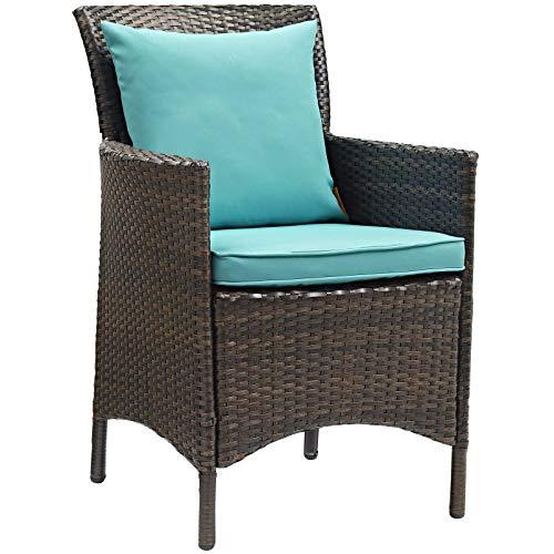Modway EEI-2801-BRN-TRQ Conduit Outdoor Patio Wicker Rattan Dining Armchair in Brown Turquoise