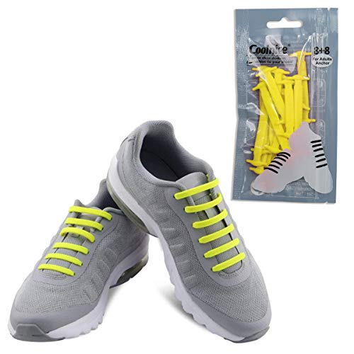 Coolnice No Tie Shoelaces for Adults-Waterproof & Stretchy Silicone Flat Elastic Running Shoe Laces with Multicolor for Athletic Sneaker Boots Board Shoes Dress and Casual Shoes-Yellow