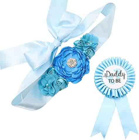Sky Blue Maternity Sash & Daddy to be Corsage Set - Baby Shower Sash Baby Boy Pregnancy Sash Keepsake Baby Shower Flower Belly Belt
